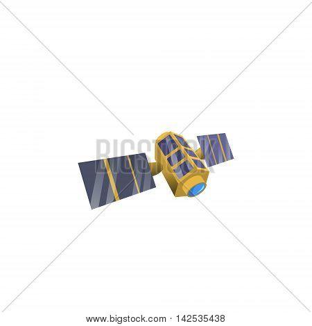 Image space satellite in orbit, flat style. Satellite model of cartoon style.