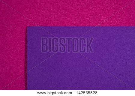 Eva foam ethylene vinyl acetate smooth purple surface on pink sponge plush background