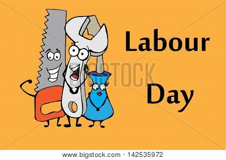 Work tools. Labour day. Hand drawn vector stock illustration.