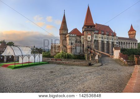 Beautiful view on transylvanian Corvin castle in sunrise