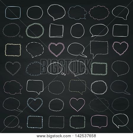 Big Set of Chalk Drawing Sketched Rustic Doodle Speech Bubbles and Banners, Frames and Borders on Chalkboard Texture. Outlined Vector Illustration.