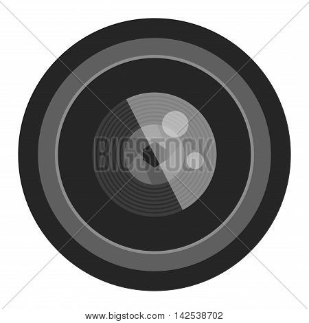 Camera photo optic lense on white background vector. Objective equipment, professional look photo optic lense. Photo optic lense igital equipment optical technology.