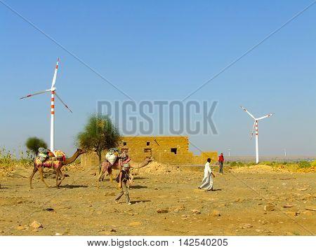 Jaisalmer, India-february 20: Unidentified People Go Through Small Village During Safari On February