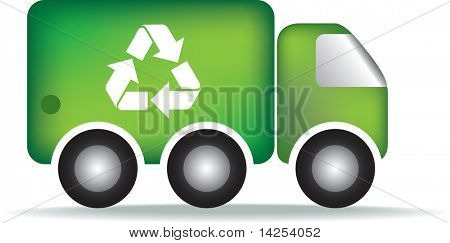 Recycle eco friendly garbage or rubbish truck