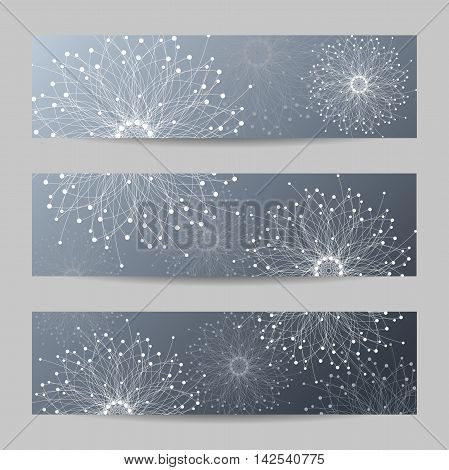 Set of horizontal banners. Geometric abstract forms with connected lines and dots. Vector illustration.