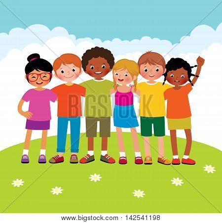 Stock Vector cartoon illustration of a group of different ethnic happy children boys and girls outdoors