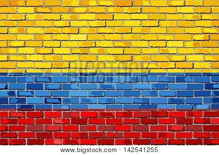 Flag of Colombia on a brick wall - Illustration,  Colombian Flag painted on brick wall, Colombia flag in brick style