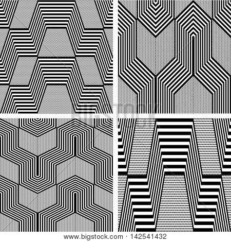 Seamless geometric op art patterns set. Vector art.