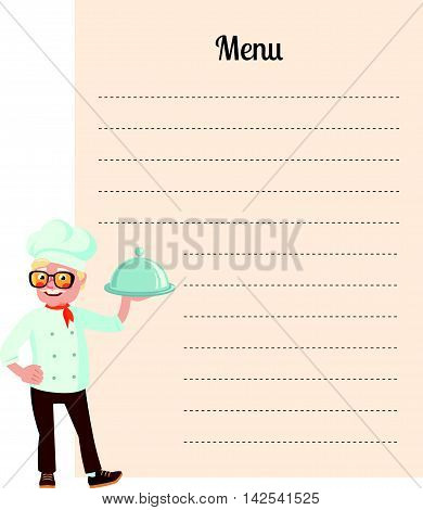 Stock vector illustration of a senior chef with dish in hand on the background of the empty blank menu