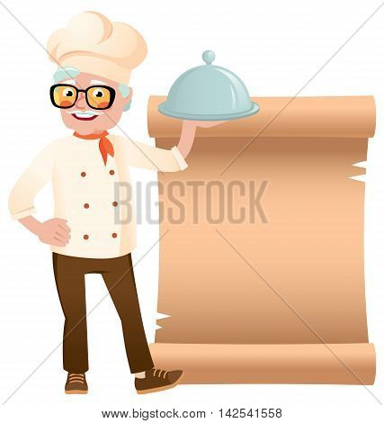 Stock vector illustration of a senior chef with dish hand on the banner background