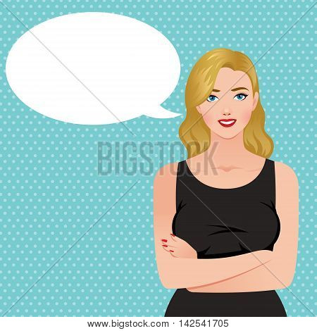Beautiful elegant blond woman in a black dress and speech bubble Stock vector illustration