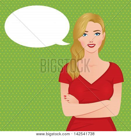 Stock vector illustration of a beautiful luxurious blond woman in a red dress in the style of pin-up and speech cloud