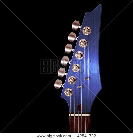 3D Illustration of electric guitar headstock with strings and tuning knobs on black.