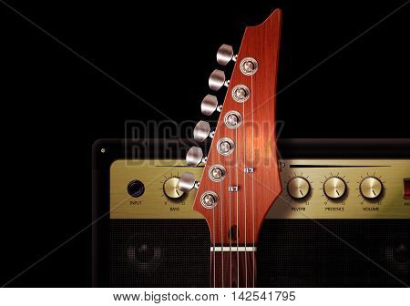 3D illustration of close up of strut and controls on electric guitar with amplifier.