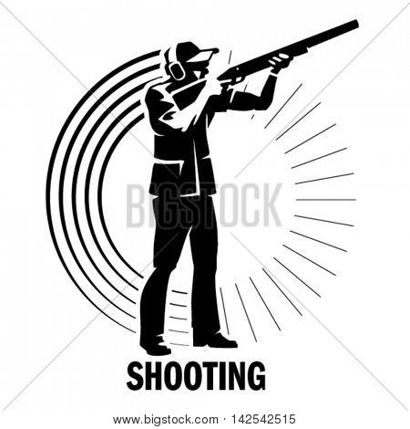 Shooting. Sport illustration in the engraving style