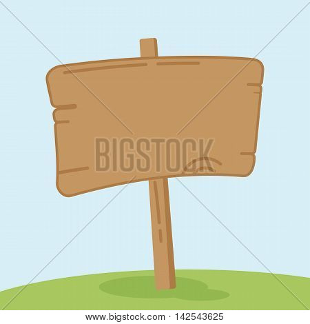 Old wooden signpost on the green sunny meadow. The signs and landmarks for travelers. Cartoon flat vector illustration. Objects isolated on a white background.