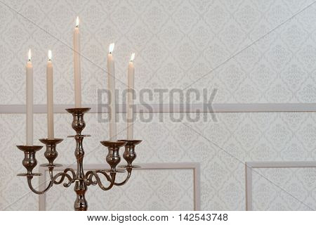 close up silver candelabra with copy space