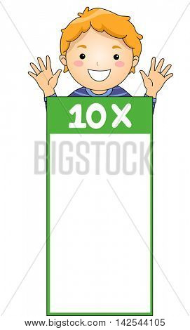 Illustration of a Little Boy Leaning Against a Multiplication Flash Card for Multiples of Ten