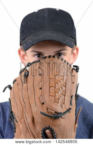 young boy with baseball glove and hat isolated on white background