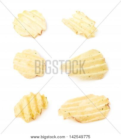 Single seasoned potato chip crisp isolated over the white background, set of six different foreshortenings