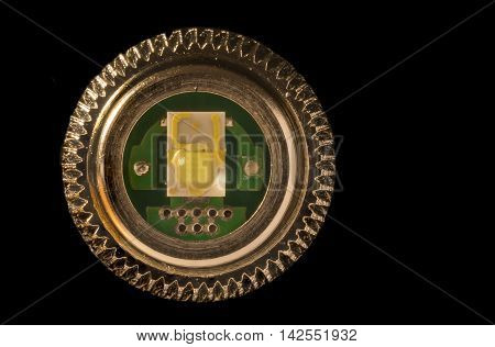 Light emitting diode. Close up of a light emitting diode, LED, used in a powerful flashlight