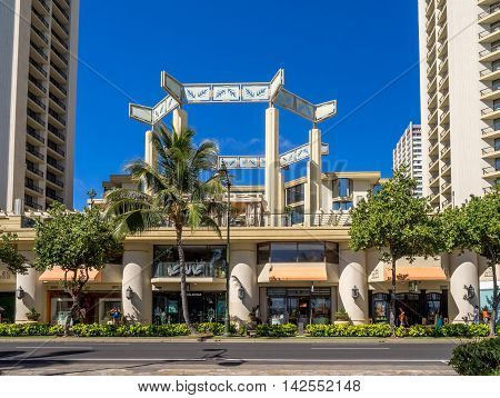 HONOLULU, USA - AUG 4: Retail outlets on Kalakaua Avenue on August 5, 2016 in Waikiki, Hawaii. Kalakaua Avenue is the favorite luxury shopping strip for tourists visiting Hawaii.