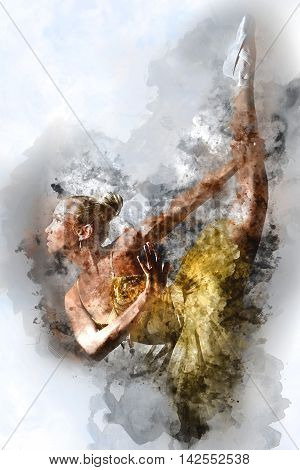 Lovely ballet dancer in yellow tutu. Digital watercolor painting.