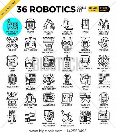 Robotic Technology Outline Icons