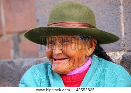 Cusco, Peru - January 20: Unidentified Woman (portrait) Sits In The Street On January 20, 2015  In C