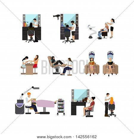Vector set of beauty salon people isolated on white background. Haircut, manicure and make up atelier. Women in beauty studio illustration in flat cartoon style.