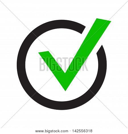 vector buttons with check marks or ticks. checkbox. Web and mobile applications. acceptance positive passed voting. Green. flat design