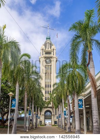 HONOLULU, HI - AUG 6: the gateway to Honolulu Harbor, the Aloha Tower on August 6, 2016 in Honolulu, Hawaii. Aloha Tower has been added to the National Historical Registry.