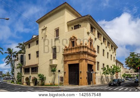 HONOLULU, HI - AUG 6: View of ta Honolulu Police Department building on August 6, 2016 in Honolulu, Hawaii. The beautiful heritage buildings is located downtown..