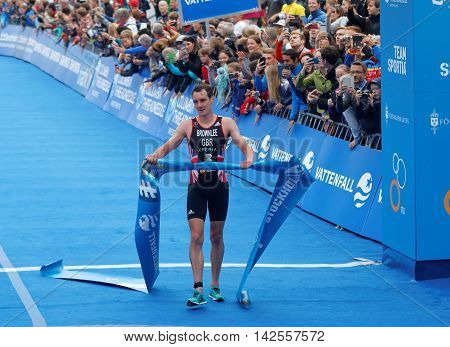 STOCKHOLM - JUL 02 2016: TTriathlete Alistair Brownlee after winning the race in the Men's ITU World Triathlon series event July 02 2016 in Stockholm Sweden