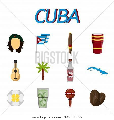 CUBA flat colored icons. Vector illustration, EPS 10