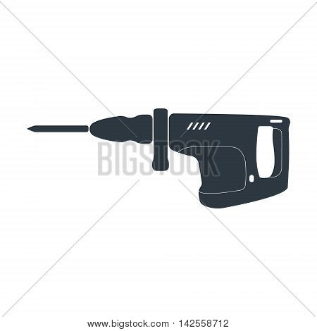 Electric jackhammer icon. Vector illustration on white background.