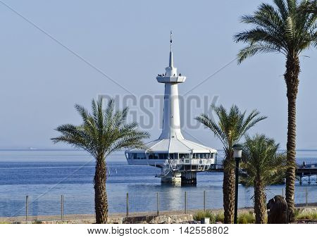View on the Aqaba gulf and marine underwater observatory, Eilat, Israel