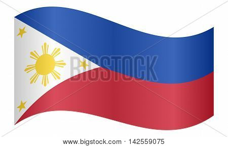 Flag of the Philippines waving on white background. Philippine national flag. vector