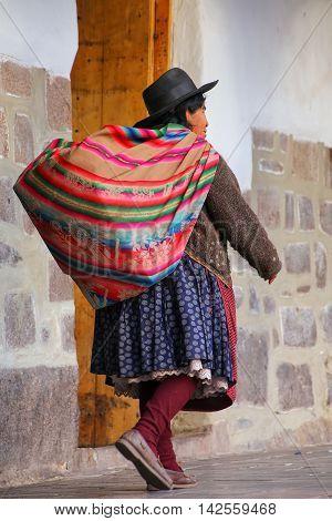 Cusco, Peru - January 20: Unidentified Woman Walks In The Street On January 20, 2015  In Cusco, Peru