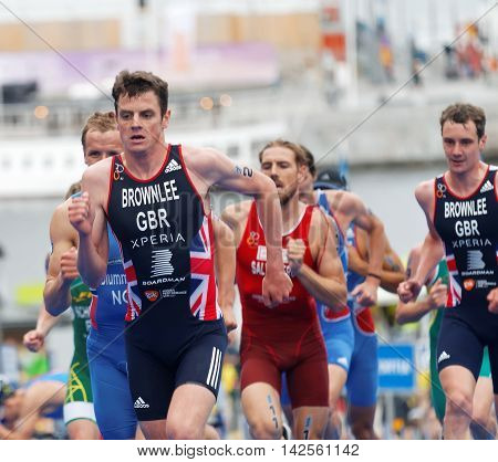 STOCKHOLM - JUL 02 2016: Running triathlete Alistair Brownlee and competitors in the Men's ITU World Triathlon series event July 02 2016 in Stockholm Sweden
