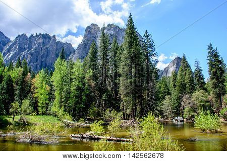 Yosemite Mountain And River
