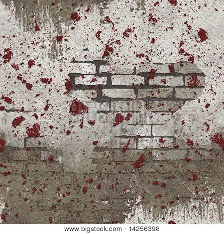White Red Splattered Seamless Brick Wall Pattern