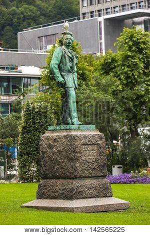 A Statue Of Norwegian Musician, Edvard Grieg In Bergen, Norway