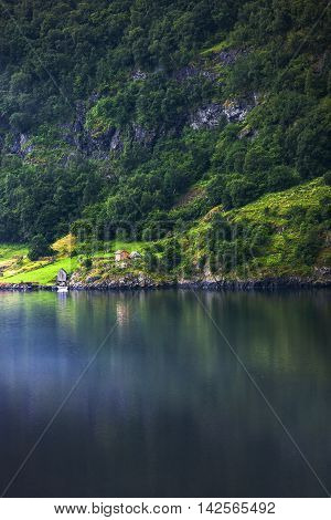 Fantastic View Of Scandinavian Mountains In Flam, Norway