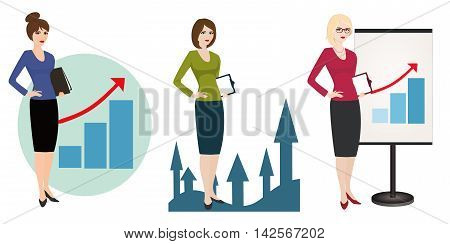 Vector illustration of a qualified PR manager on a white background. Specialist in public relations, skilled office employee. Horizontal location.