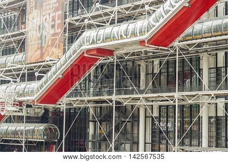 PARIS FRANCE - APRIL 26: Centre Georges Pompidou on april 26 2013 in Paris. The postmodern structure completed in 1977 is one of most popular landmarks in Paris.