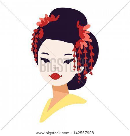 Vector japanese geisha girl