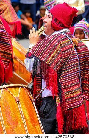 Lima, Peru-january 31: Unidentified Man Plays Flut During Festival Of The Virgin De La Candelaria On
