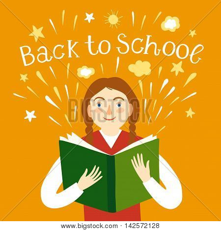 Cartoon schoolgirl holding a book. Including back to school title. Education illustration for your design.