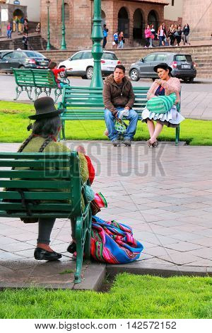 Cusco, Peru - January 20: Unidentified Woman Knits At Plaza De Armas On January 20, 2015  In Cusco,